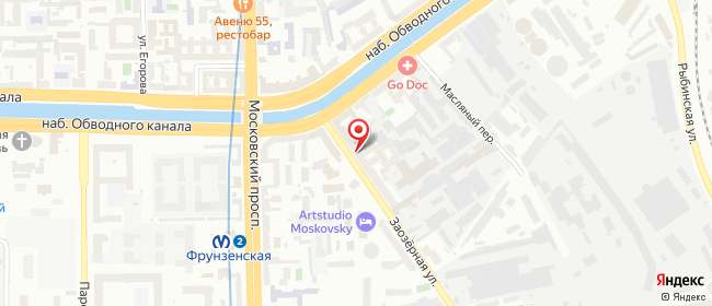 Карта расположения пункта доставки Фрунзенская в городе Санкт-Петербург