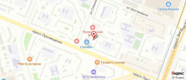 Карта расположения пункта доставки Санкт-Петербург Симонова в городе Санкт-Петербург