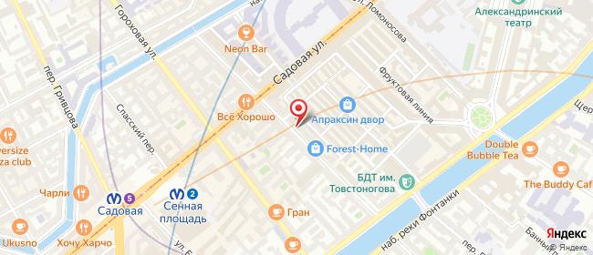 Карта расположения пункта доставки Санкт-Петербург Апраксин в городе Санкт-Петербург