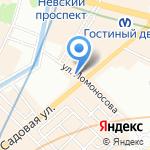 Голубая Устрица на карте Санкт-Петербурга