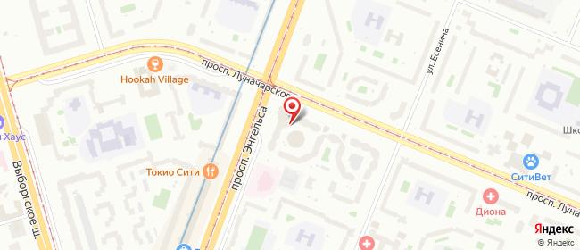 Карта расположения пункта доставки Санкт-Петербург Луначарского в городе Санкт-Петербург