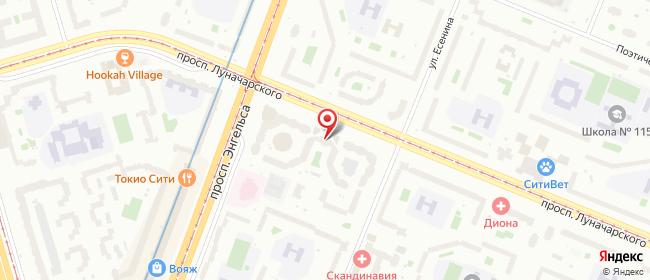 Карта расположения пункта доставки На Есенина в городе Санкт-Петербург