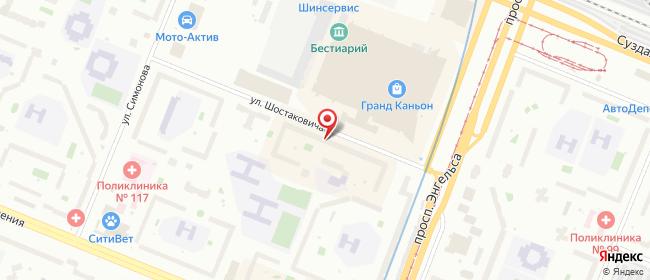 Карта расположения пункта доставки Санкт-Петербург Шостаковича в городе Санкт-Петербург