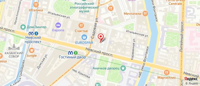 Карта расположения пункта доставки Санкт-Петербург Малая Садовая в городе Санкт-Петербург