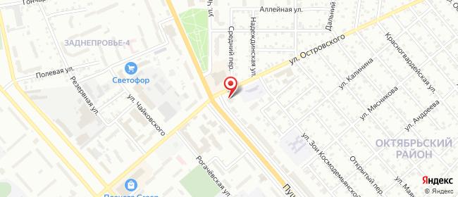 Карта расположения пункта доставки Пушкина-Островского в городе Могилев