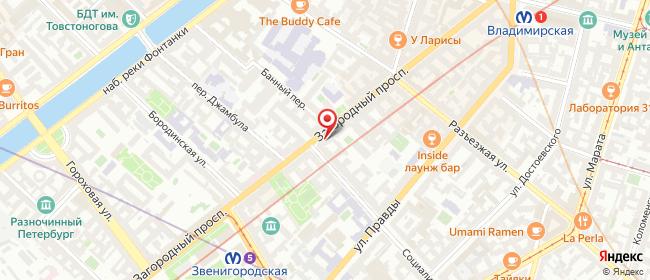 Карта расположения пункта доставки Санкт-Петербург Загородный в городе Санкт-Петербург