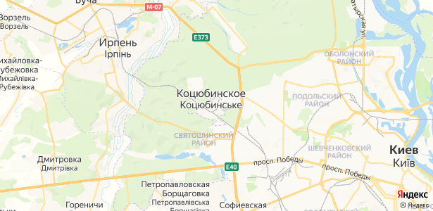 Коцюбинське на карте