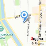 На Моховой на карте Санкт-Петербурга
