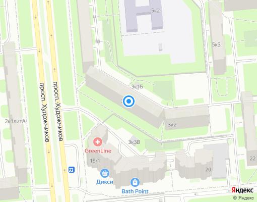 Товарищество собственников жилья «Художников-5» на карте Санкт-Петербурга