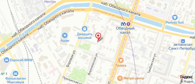 Карта расположения пункта доставки Наб. Обводного канала в городе Санкт-Петербург