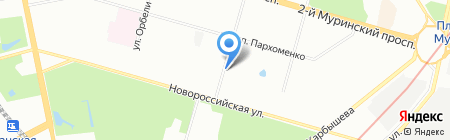 Продовольственный магазин на Институтском проспекте на карте Санкт-Петербурга