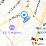 На Коломенской на карте Санкт-Петербурга