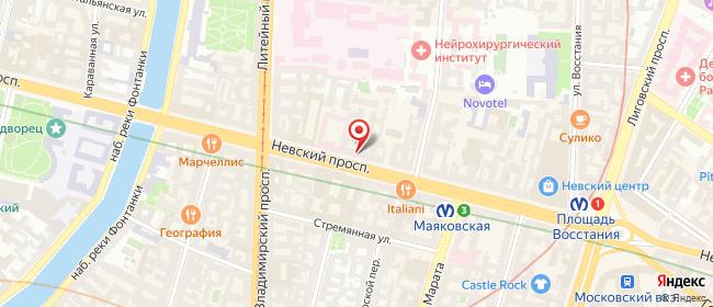 Карта расположения пункта доставки Ростелеком в городе Санкт-Петербург