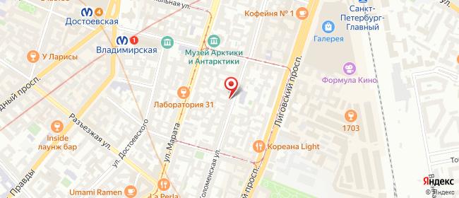 Карта расположения пункта доставки Санкт-Петербург Коломенская в городе Санкт-Петербург