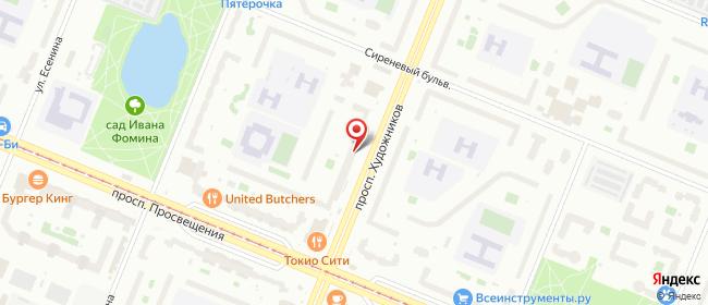 Карта расположения пункта доставки Санкт-Петербург Художников в городе Санкт-Петербург
