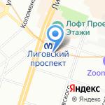 Лиговский проспект на карте Санкт-Петербурга