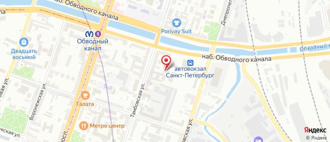 Карта расположения пункта доставки Санкт-Петербург Тамбовская в городе Санкт-Петербург