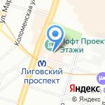Универсам на карте Санкт-Петербурга