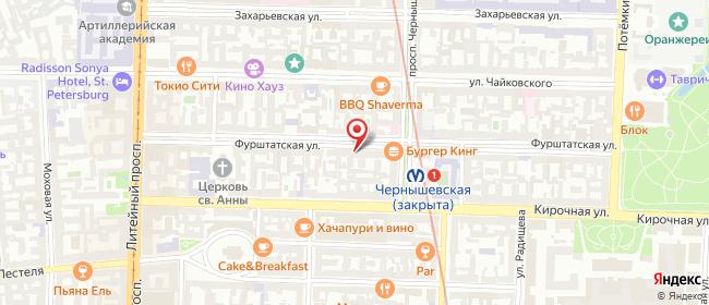 Карта расположения пункта доставки Санкт-Петербург Фурштатская в городе Санкт-Петербург