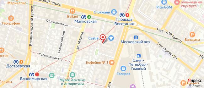 Карта расположения пункта доставки Санкт-Петербург Пушкинская в городе Санкт-Петербург
