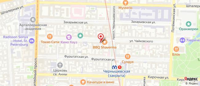 Карта расположения пункта доставки Санкт-Петербург Чайковского в городе Санкт-Петербург