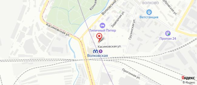 Карта расположения пункта доставки Санкт-Петербург Касимовская в городе Санкт-Петербург