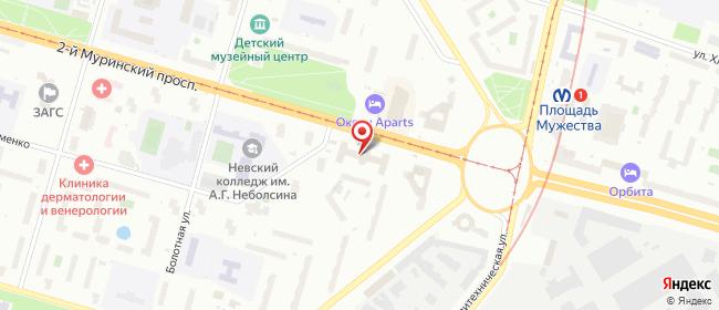 Карта расположения пункта доставки Санкт-Петербург 2-й Муринский в городе Санкт-Петербург