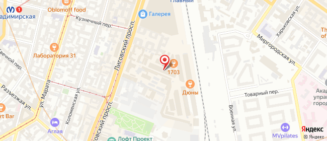 Карта расположения пункта доставки Санкт-Петербург Лиговский в городе Санкт-Петербург