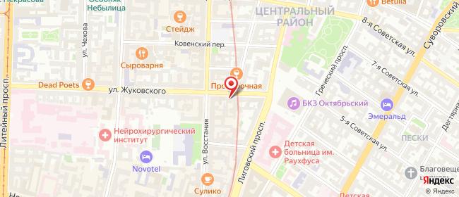 Карта расположения пункта доставки Жуковского в городе Санкт-Петербург