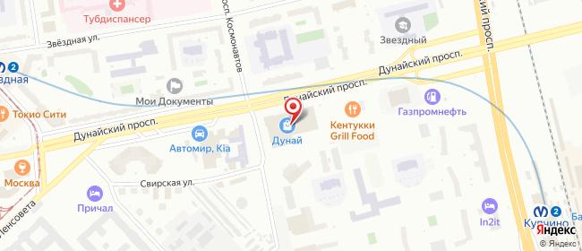 Карта расположения пункта доставки Дунайский проспект, 27 в городе Санкт-Петербург