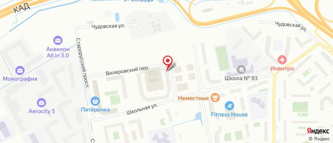 Карта расположения пункта доставки На Вилеровском в городе Шушары