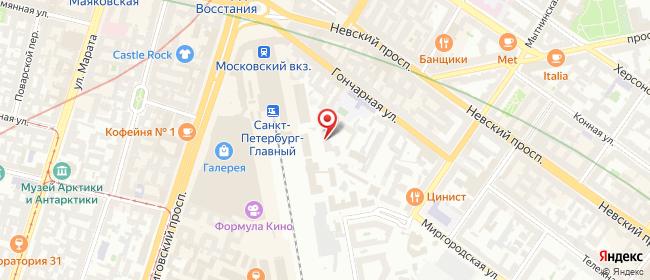 Карта расположения пункта доставки Санкт-Петербург Гончарная в городе Санкт-Петербург