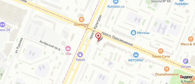 Карта расположения пункта доставки Санкт-Петербург Просвещения в городе Санкт-Петербург