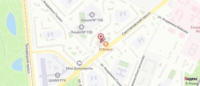 Карта расположения пункта доставки Санкт-Петербург Светлановский в городе Санкт-Петербург