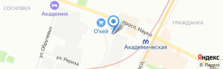 Шиномонтажная мастерская на проспекте Науки на карте Санкт-Петербурга