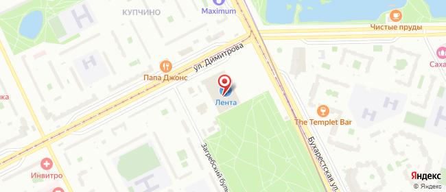 Карта расположения пункта доставки Санкт-Петербург Бухарестская в городе Санкт-Петербург