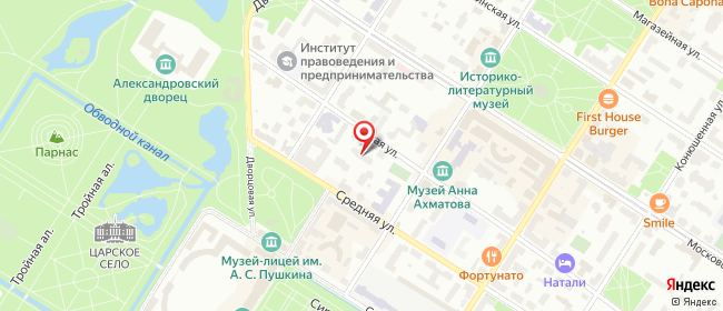 Карта расположения пункта доставки На Малой в городе Пушкин
