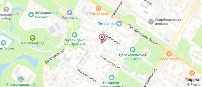 Карта расположения пункта доставки Пушкин Церковная в городе Пушкин