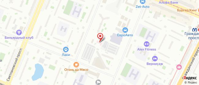 Карта расположения пункта доставки На Брянцева в городе Санкт-Петербург