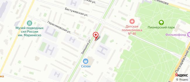 Карта расположения пункта доставки Санкт-Петербург Замшина в городе Санкт-Петербург