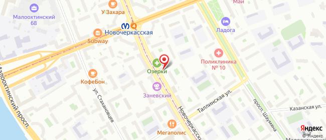 Карта расположения пункта доставки Санкт-Петербург Новочеркасский в городе Санкт-Петербург