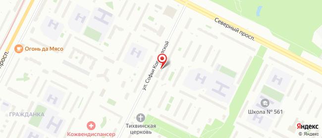 Карта расположения пункта доставки Софьи Ковалевской в городе Санкт-Петербург