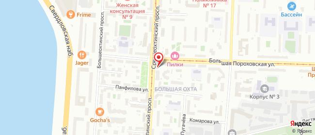 Карта расположения пункта доставки Среднеохтинский в городе Санкт-Петербург