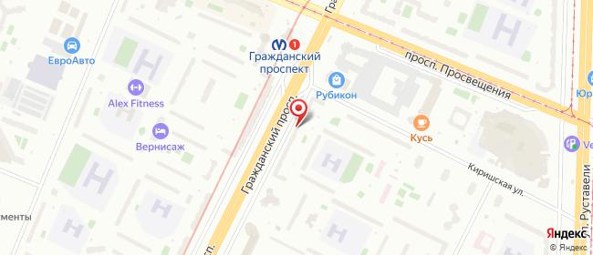 Карта расположения пункта доставки Санкт-Петербург Гражданский в городе Санкт-Петербург