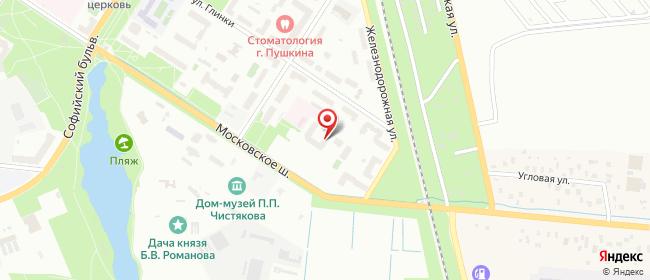 Карта расположения пункта доставки На Глинки в городе Пушкин