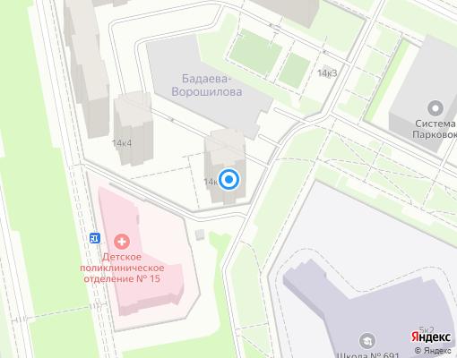 Товарищество собственников жилья «Бадаева, 14» на карте Санкт-Петербурга