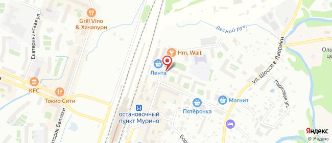 Карта расположения пункта доставки Мурино Привокзальная в городе Мурино