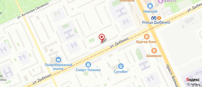 Карта расположения пункта доставки На Дыбенко в городе Санкт-Петербург