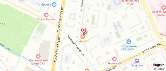 Карта расположения пункта доставки Санкт-Петербург Чудновского в городе Санкт-Петербург