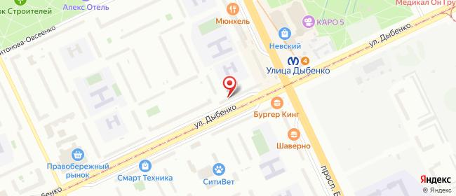 Карта расположения пункта доставки Санкт-Петербург Дыбенко в городе Санкт-Петербург